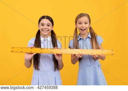 Happy Schoolchildren Hold Wooden Ruler. Geometry Lesson. School Education. Back To School
