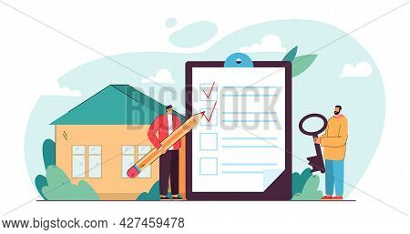 Two Tiny Men Preparing For Move. Flat Vector Illustration. Two People Filling Out Giant List With Ch