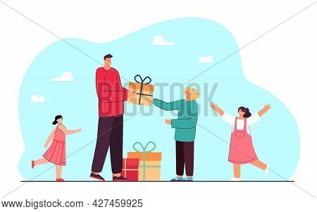 Young Man Giving Gifts To Girls. Flat Vector Illustration. Man Giving Out Gift Boxes To Happy Girls