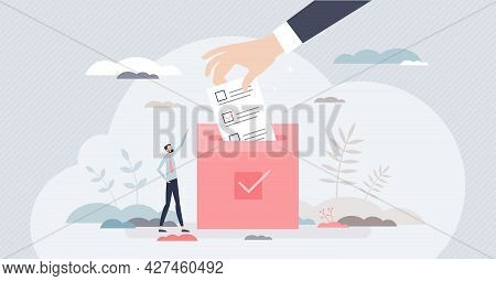 Election And Voting With Citizens Choice In Referendum Tiny Person Concept. Democracy Process With C