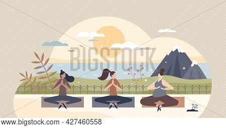 Yoga Retreat And Meditation Group Practice For Body And Mind Wellness Tiny Person Concept. Relaxatio