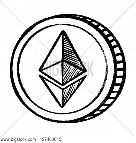Etherium Cryptocurrency Money Coin Sketch Icon. Vector Ethereum Crypto Sign. Hand Drawn Isolated Cry