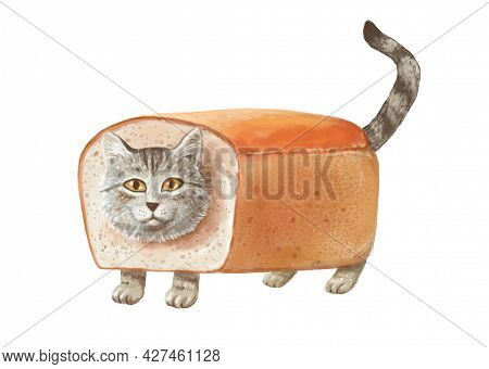 Funny Gray Cute Kawaii Tabby Cat In Bread On White Background
