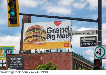 Montreal, Ca - 4 July 2021: Advertising Banner For Mcdonald's Big Mac