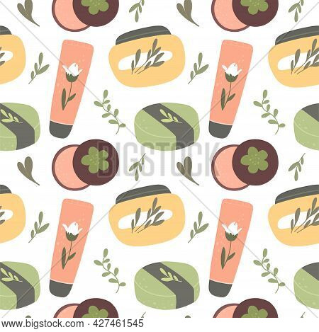 Seamless Pattern With Organic Cosmetics, Natural Cosmetics And Body Skin Care Products. Vector Hand