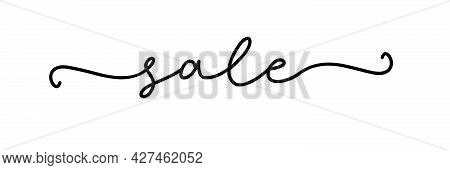 Sale. Continuous Line Typography Text. Hand Drawn Lettering Cursive Script Sale. Vector Inscription