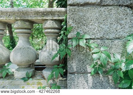 Old Gray Balustrade With Stone Columns And Railing On Green Tree And Architectural Construction Back