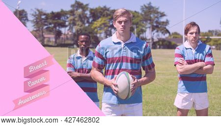 Composition of pink ribbon logo and breast cancer text, with rugby players. breast cancer positive awareness campaign concept digitally generated image.