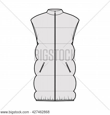 Down Vest Puffer Waistcoat Technical Fashion Illustration With Sleeveless, Stand Collar, Pockets, Hi