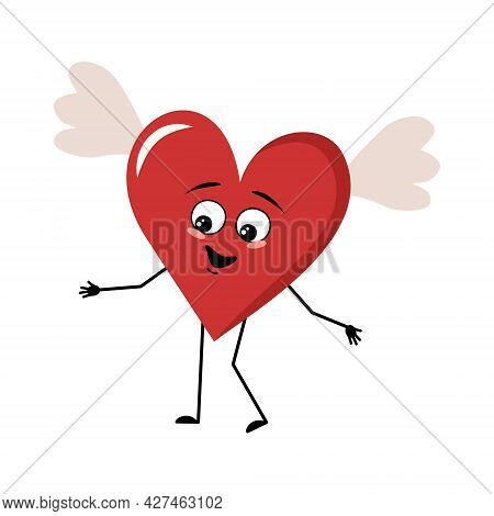 Cute Character Red Heart With Wings And Joyful Emotions, Smile Face, Happy Eyes, Arms And Legs. Fest