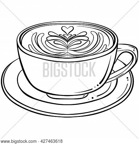 Cappuccino Drink With Latte Art. Hand Drawn Vector Illustration In Sketch Style Isolated On White. M