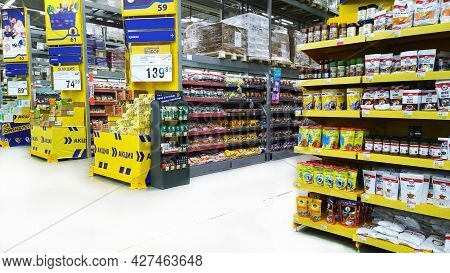 St. Petersburg, Russia - July 16, 2021: Top Russian Supermarket Is One Of Largest Players Of Retail