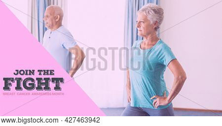 Composition of breast cancer text, with senior couple exercising. breast cancer positive awareness campaign concept digitally generated image.