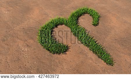 Concept conceptual green summer lawn grass symbol shape on brown soil or earth background, sign of aries zodiac sign. 3d illustration symbol for esoteric, mystic, the power of prediction of astrology