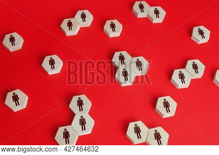 Hexagonal Figures Of People. Hiring New Employees And Recruiting Staff. Personnel Management. Human