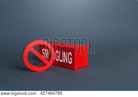 Red Cargo Ship Container With The Word Smuggling. Illegal Traffic Of Drugs And Illicit Goods, Human