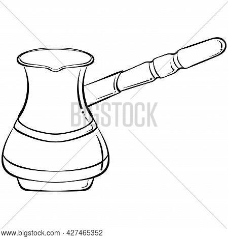 Hand Drawn Coffee Cezve, Turkish Pot, Espresso Coffee Maker. Coffee Turk Outline Icon. For Restauran