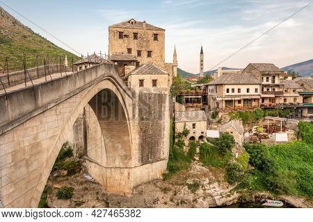 Stari Most bridge at sunset in old town of Mostar, Bosnia and Herzegovina