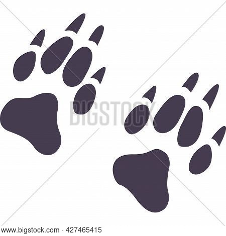 Vector Flat Foot Prints Of Wolf Steps. Illustration Isolated On White Background. Wolf Paw. Concept