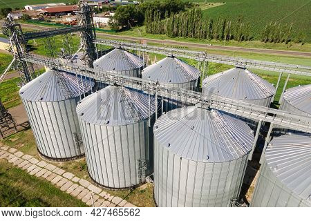 Modern Industrial Grain Elevator For Grain Storage. Steel Silos For Storing Grain On A Agricultural