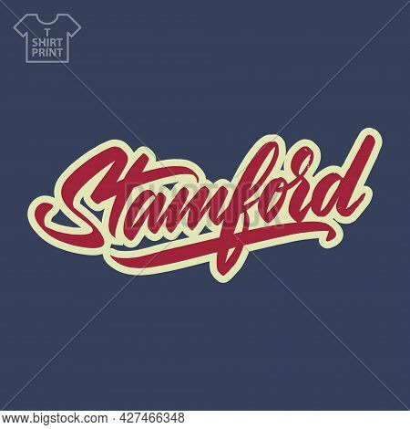 Stamford America City Logo In Vintage Grunge Style. For Printing On Souvenirs. Vector Illustration.