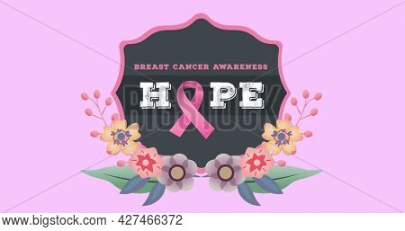 Composition of pink ribbon logo and breast cancer text on pink back ground. breast cancer positive awareness campaign concept digitally generated image.