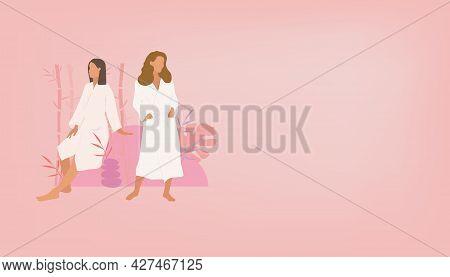 Two Girls In Bathrobes On A Pink Background. Beauty Salon Logo, Spa Salon. Two Girls Girlfriend In A
