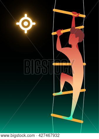Climb The Ladder. Vector Composition In Gradient Style