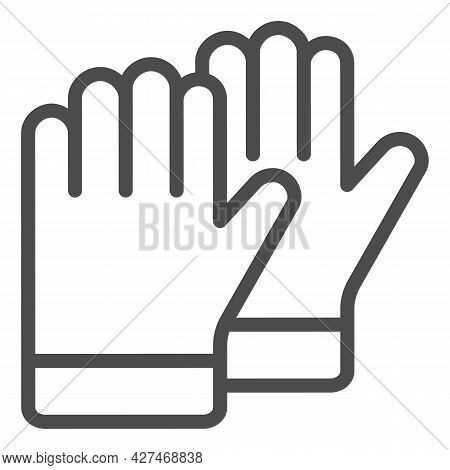 Protective Gloves Line Icon, Construction Tools Concept, Construction Safety Gloves Vector Sign On W