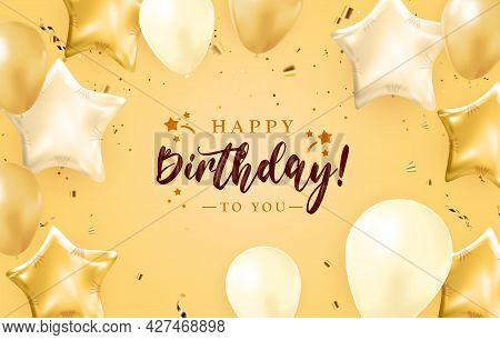 Happy Birthday Congratulations Banner Design With Confetti, Balloons And Glossy Glitter Ribbon For P