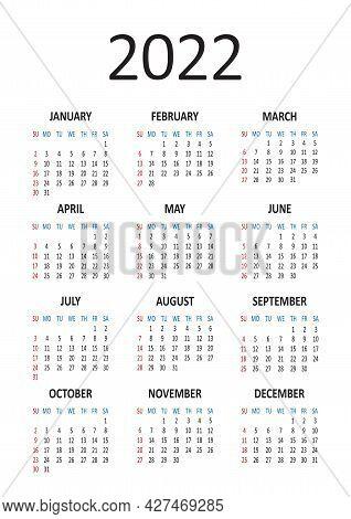 American Calendar 2022 Year. Week Starts From Sunday. Vector Illustration