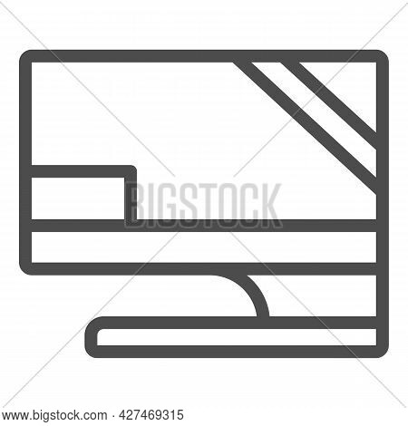 Monitor On Original Stand Line Icon, Monitors And Tv Concept, Screen Set Basic Stand Vector Sign On