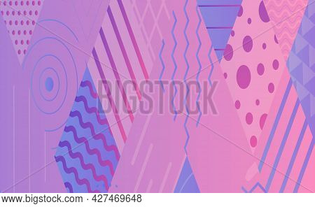 Vector Abstract Horizontal Background. Geometric Shapes And Forms In A Grid Of Rhombuses. Parallel L
