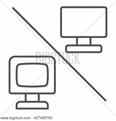 Flat Versus Convex Monitor Thin Line Icon, Monitors And Tv Concept, Curved Vs Flat Screen Vector Sig
