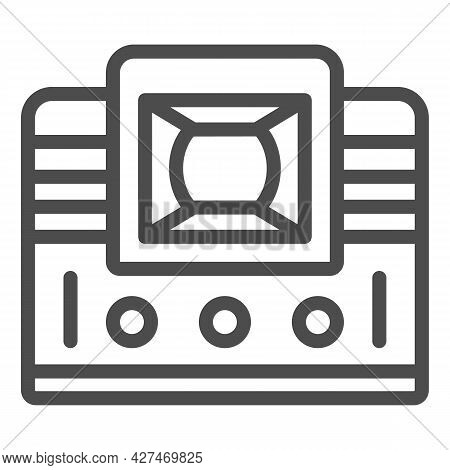 Retro Tv With Lens Line Icon, Monitors And Tv Concept, Vintage Old Tv With Optic Lens Vector Sign On