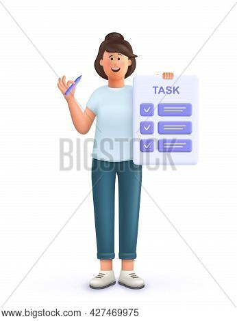 Young Woman Jane With Tasks On Paper Sheets, Planning Schedule To Finish Task On Time. Deadline, Ass