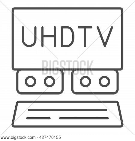 Uhdtv System Thin Line Icon, Monitors And Tv Concept, Ultra High Definition Television Vector Sign O