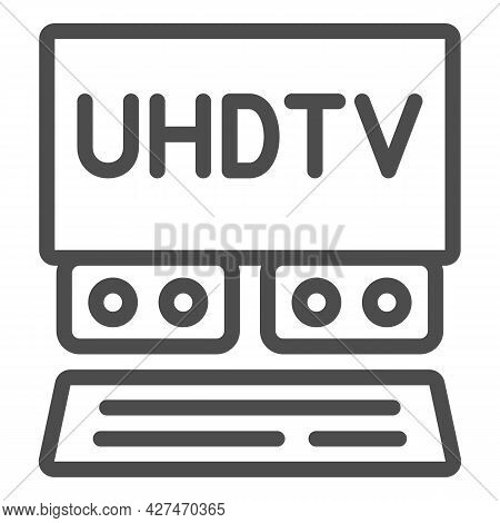 Uhdtv System Line Icon, Monitors And Tv Concept, Ultra High Definition Television Vector Sign On Whi