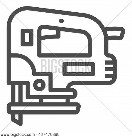 Jigsaw Line Icon, Construction Tools Concept, D Handle Jig Saw Vector Sign On White Background, Outl