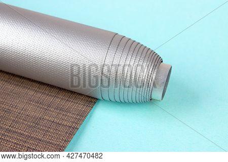 Brown Blackout Roller Blind. Close Up Detail Of A Roller Blind. Color Blackout Roller Blind.