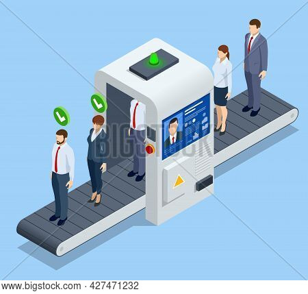 Isometric Robot Analyzes The Database Of Employees Or Personnel. Data Processing. Robot Hr Manager.