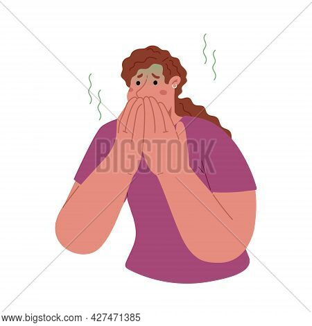 Woman Covers Her Mouth With Her Hands, Feels Nauseous, Abdominal Pain, Vomiting.morning Sickness Of