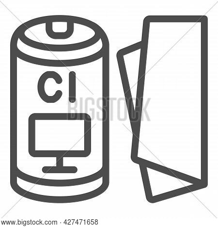Cloth For Monitor Line Icon, Monitors And Tv Concept, Screen Cleaning Cloth Vector Sign On White Bac
