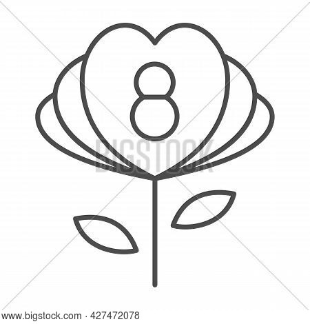 Flower With Eight Number And Petals In Form Of Hearts Thin Line Icon, 8 March Concept, Woman Day Pre
