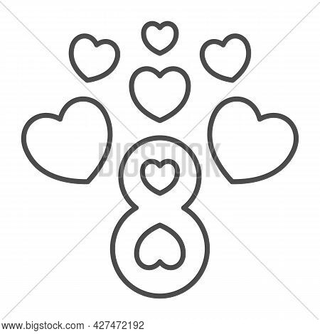 Eight Number With Hearts Thin Line Icon, 8 March Concept, Women Day Greeting Card Sign On White Back