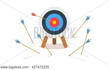 Archery Target Ring With One Hitting And Many Missed Arrows. Dartboard On Tripod Isolated On White B