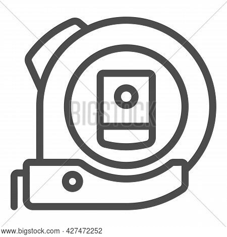 Roulette Line Icon, Construction Tools Concept, Ruler Tool Measuring Tape Vector Sign On White Backg
