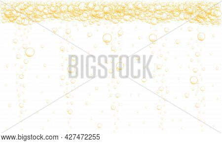 Golden Bubbles Stream Background. Sparkling Fizzy Drink, Carbonated Water, Beer, Soda, Lemonade, Cha