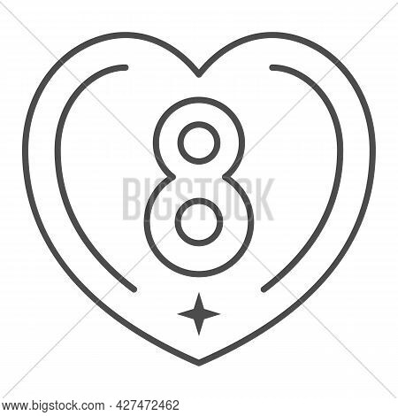 Eight In Heart Thin Line Icon, 8 March Concept, International Women Day Greeting Card Sign On White