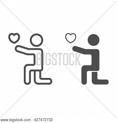 Man On His Knees With Heart Line And Solid Icon, 8 March Concept, Man Giving Heart To His Lover Sign